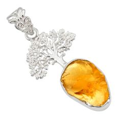 925 sterling silver 8.55cts yellow citrine rough tree of life pendant r31329