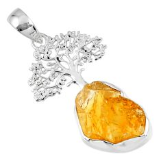 925 sterling silver 8.26cts yellow citrine rough tree of life pendant r56824