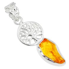 925 sterling silver 6.57cts yellow citrine raw tree of life pendant r80915
