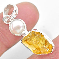 925 sterling silver 8.73cts yellow citrine raw white pearl pendant t25504