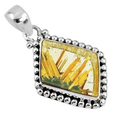925 sterling silver12.91cts natural golden star rutilated quartz pendant r60244