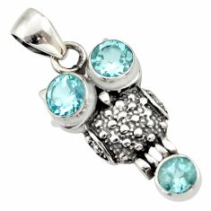 Clearance Sale- 3.13cts natural blue topaz 925 sterling silver owl pendant jewelry d33141