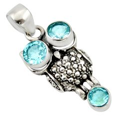 Clearance Sale- 3.28cts natural blue topaz 925 sterling silver owl pendant jewelry d33142