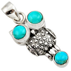 2.98cts blue arizona mohave turquoise 925 sterling silver owl pendant d33145