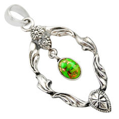 Clearance Sale- 925 sterling silver 1.94cts green copper turquoise oval pendant jewelry d33151
