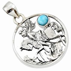 0.70cts natural blue larimar 925 sterling silver horse pendant jewelry d33162