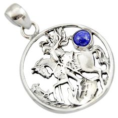 Clearance Sale- 925 sterling silver 0.75cts natural blue lapis lazuli round horse pendant d33163