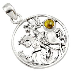 Clearance Sale- 0.75cts natural green tourmaline 925 sterling silver horse pendant d33164