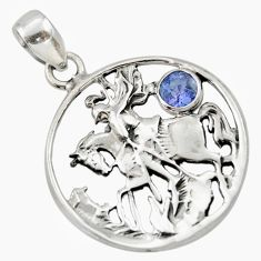 Clearance Sale- 0.88cts natural blue tanzanite 925 sterling silver horse pendant jewelry d33167