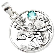 0.75cts natural blue topaz 925 sterling silver horse pendant jewelry d33169
