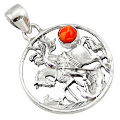 925 sterling silver 0.67cts red copper turquoise horse pendant jewelry d33170