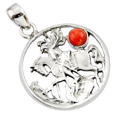 0.70cts red copper turquoise 925 sterling silver horse pendant jewelry d33172
