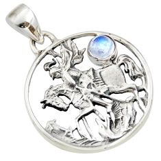 925 sterling silver 0.73cts natural rainbow moonstone horse pendant d33173