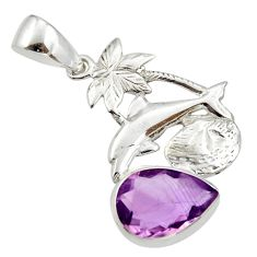 Clearance Sale- 5.23cts natural purple amethyst 925 sterling silver dolphin pendant d33176