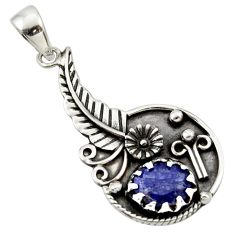 925 sterling silver 3.37cts natural blue sapphire flower pendant jewelry d33184