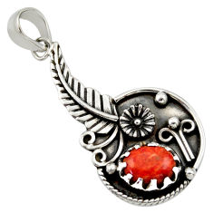Clearance Sale- 3.41cts red copper turquoise 925 sterling silver flower pendant jewelry d33186