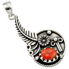 925 sterling silver 3.41cts red copper turquoise flower pendant jewelry d33188