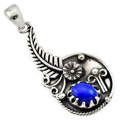 Clearance Sale- 2.93cts natural blue lapis lazuli 925 sterling silver flower pendant d33189