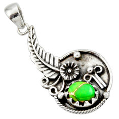 3.01cts green copper turquoise 925 sterling silver flower pendant jewelry d33190