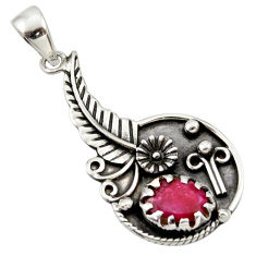 Clearance Sale- 925 sterling silver 3.37cts natural red ruby flower pendant jewelry d33192