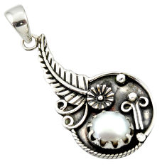 3.01cts natural white pearl 925 sterling silver flower pendant jewelry d33194