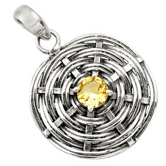 Clearance Sale- 925 sterling silver 1.01cts natural yellow citrine round pendant jewelry d33204