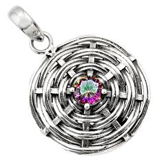 1.22cts multicolor rainbow topaz 925 sterling silver pendant jewelry d33206