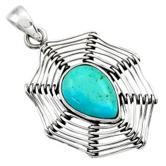 6.31cts green arizona mohave turquoise 925 sterling silver pendant d33212