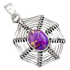 Clearance Sale- 925 sterling silver 4.40cts purple copper turquoise oval pendant jewelry d33217