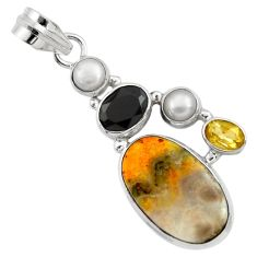 Clearance Sale- 15.39cts natural yellow bumble bee australian jasper 925 silver pendant d33225