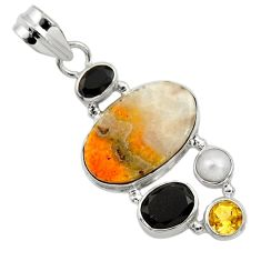 Clearance Sale- 925 silver 15.39cts natural yellow bumble bee australian jasper pendant d33227