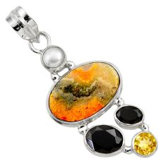 Clearance Sale- 13.09cts natural yellow bumble bee australian jasper 925 silver pendant d33231