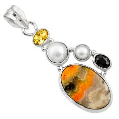 Clearance Sale- 14.90cts natural yellow bumble bee australian jasper 925 silver pendant d33235