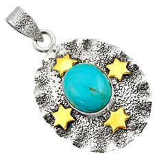 5.28cts victorian arizona mohave turquoise 925 silver two tone pendant d33261