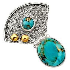 Clearance Sale- 925 silver 5.11cts victorian blue copper turquoise two tone pendant d33264