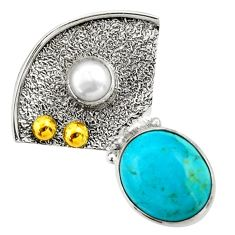 925 silver 6.03cts victorian arizona mohave turquoise two tone pendant d33268