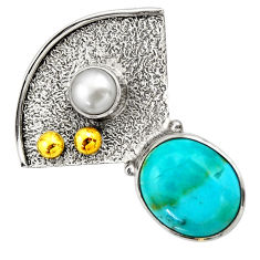 6.04cts victorian arizona mohave turquoise 925 silver two tone pendant d33269