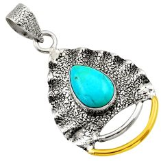 925 silver 4.22cts victorian arizona mohave turquoise two tone pendant d33272