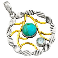 5.42cts victorian arizona mohave turquoise 925 silver two tone pendant d33273