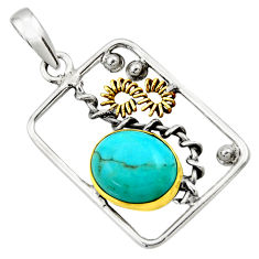 925 silver 4.93cts victorian arizona mohave turquoise two tone pendant d33276