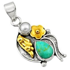 4.92cts victorian arizona mohave turquoise 925 silver two tone pendant d33280