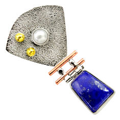 Clearance Sale- 6.07cts victorian natural blue lapis lazuli 925 silver two tone pendant d33283
