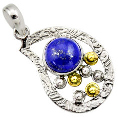 925 silver 5.11cts victorian natural blue lapis lazuli two tone pendant d33284