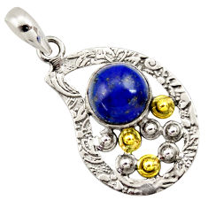 Clearance Sale- 5.38cts victorian natural blue lapis lazuli 925 silver two tone pendant d33285
