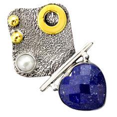 9.47cts victorian natural blue lapis lazuli 925 silver two tone pendant d33289