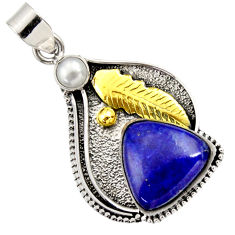 Clearance Sale- 13.34cts victorian natural blue lapis lazuli 925 silver two tone pendant d33290