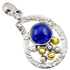 Clearance Sale- 925 silver 5.14cts victorian natural blue lapis lazuli two tone pendant d33295