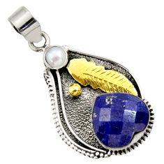 Clearance Sale- 11.56cts victorian natural blue lapis lazuli 925 silver two tone pendant d33296