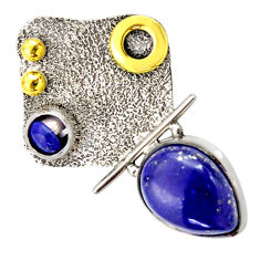 Clearance Sale- 925 silver 6.82cts victorian natural blue lapis lazuli two tone pendant d33298