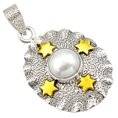 5.52cts victorian natural white pearl round 925 silver two tone pendant d33302